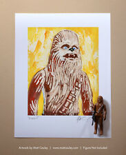 CHEWBACCA Vintage Kenner Star Wars Action Figure ORIGINAL ART PRINT 3.75 Solo