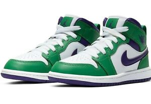 Nike Air Jordan 1 Mid Green Purple White 640734-300 Preschool Size 11C 12C 13C