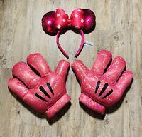 Disney Parks Minnie Mouse Ears Headband Gloves Pink Sparkle Girls Dress Up Set