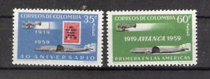 Columbia 1959 40th Anniv of Airmail Service and AVANICA MLH (SC# C347-C348)