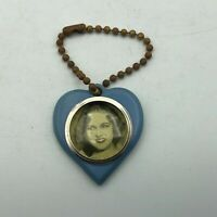 Vintage Blue Plastic Heart FOB Keychain Sweetheart Hollywood Starlet Picture  F3
