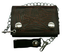 "Men Biker Chain Wallet Genuine Leather Brown ""American Flag&Eagel&gun"" Tri Fold"