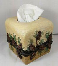 Ceramic pinecone tissue box cover for lodge/cabin decor. Never used.