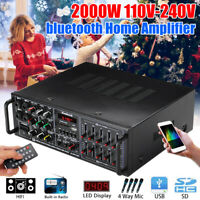 2000W bluetooth HIFI Stereo Amplifier 2CH Tuner Remote Control USB SD Mic Input