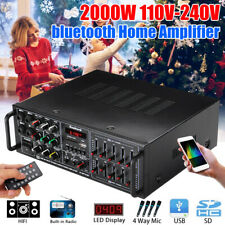 2000W bluetooth HIFI Stereo Amplifier 2CH Tuner Remote Control USB SD Mic Input
