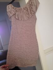 River Island Crape Style One Shoulder Dress Mink Size 12 Stretchy Fitted Party