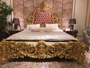 BESPOKE Upholstered Gothic bed carved from mahogany wood ~ Baroque Rococo style