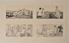 Max Klinger - Amor u. Psyche, 4 Vignetten aus: Opus V, Bl. 19 - Radierung - 1880