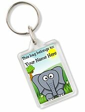 Personalised Kids Childs School Bag Tag Animal Keyring With Elephant AK84