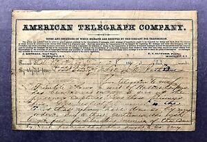Signed 1862 MAJOR GENERAL WILLIAM S ROSECRANS Civil War Content Telegraph