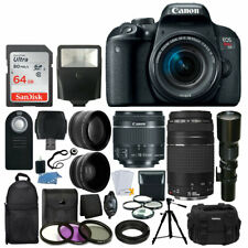 Canon EOS Rebel T7i DSLR Camera +18-55 +75-300 +500mm Lens Deluxe Accessory Kit