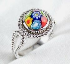 Genuine Murano Millefiori Glass Ring By Alan K 925 Sterling Silver Size 8