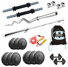 Gb Home Gym Set 50 Kg Plates + 5Ft Plain +3Ft Curl Rod + GYMBAG + Dumbbells
