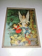 Antique Guardian Angel|Children Cliff Religious Framed Victorian Print USA Litho