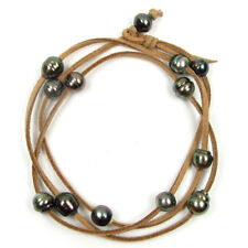 """32"""" Baroque Tahitian Pearl Brown 2mm Cord As Bracelet, Anklet or Necklace"""