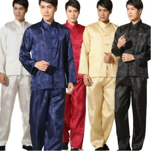 Best selling Chinese men's 囍 style Kung Fu clothing suit pajamas Size:M - 3XL