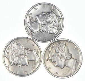 Lot of 3 AU/Unc 1941, 1941, 1944-S Mercury Dimes 90% Silver Collection *256