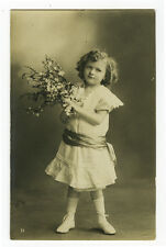 c 1914 Child Children LITTLE FASHION GIRL photo postcard