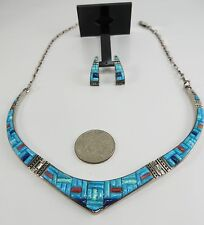 Turquoise Opal & Spiny Oyster Inlay Necklace & Post Earring Set in Sterling
