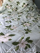 Double/King Sanderson Floral Quilted Bedspread 258 X 260cm  Magnolia Throw