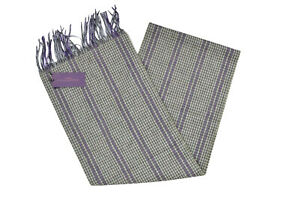 Seaward & Stearn NWT Wool & Angora Scarf In Green & Cream With Bright Purple