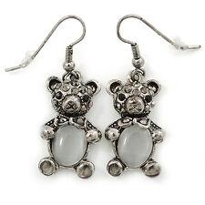 Marcasite Hematite Crystal Bear Drop Earrings In Antique Silver Tone - 40mm L