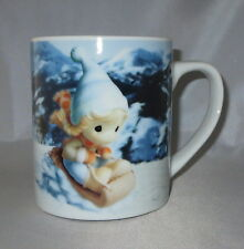 Precious Moments Coffee Cup Mug Girl Sledding Time to Start Living Life Imagined