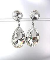 EXQUISITE SHIMMER Clear Crystals Bridal Pageant Prom Drag Tear Drop Earrings CPL