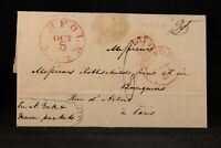Virginia: Norfolk 1839 Stampless Cover, Transatlantic to France, Nice Markings