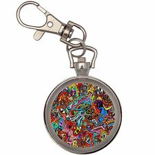 Psychedelic Silver Key Ring Chain Pocket Watch