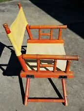 Vintage Faux Bamboo Directors Chair Telescope Folding Furniture Co Wood Canvas