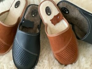 New Mens Brown Grey Black Leather Slippers Flip Flop Clog Size7 8 9 10 11 12 13