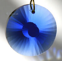 Round Sunburst Facet 28mm Cobalt Blue Crystal Prism Pendant Suncatcher 1-1/8""