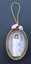 Vintage 1980's Baby Girl Wrapped In Blanket Christmas Tree Ornament