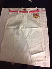 NWT Apple Bottoms Women Capri Pant White Embroidered Sequin Pockets 16 Pink Belt