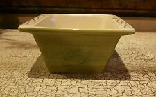 Tastefully Simple Host Collection Square Ceramic Baking Dish Green Cream Leaves