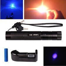 Military Burning 405nm Blue Purple Laser Pointer Pen Lazer Beam+18650 +Charger