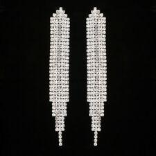 Long Crystal Drop Earrings Diamante Tassel Wedding Prom Rhinestone Silver Dangle