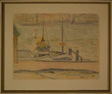 Beautiful Little Antique Sketch of European Dock With Two Boats, Monogram, 1930