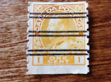 1923 Canada 1 Cent Gold Coil Postage Stamp Scott #126 Used Bar Cancelled