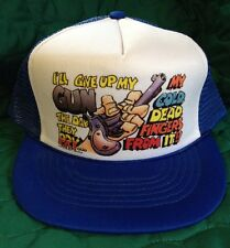 Vintage TRUCKER SNAP BACK CAP NWOT I'll GIVE UP MY GUN 1985 Wild Side West NOS