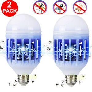 2 Pack Light Zapper LED Lightbulb Bug Mosquito Fly Insect Killer Bulb Lamp Home