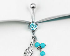 Fashion Body Piercing Crystal Ball Button Barbell Bar Dangle Belly Navel Ring