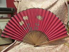 bel ancien grand eventail fan abanico ventaglio papier peint et tissu fleurs