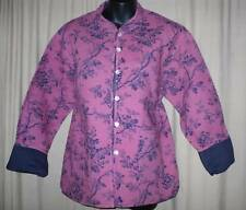NEW Soft Quilted REVERSABLE 2-Sided Asian Collar Pink & Blue Jacket /Coat MEDIUM