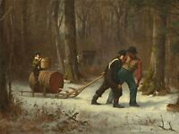 EASTMAN JOHNSON AMERICAN ON THEIR WAY CAMP OLD ART PAINTING POSTER BB5204A