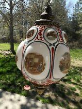 Rare! VTG 1776 Bicentennial White Milk Glass Globe Hollywood Regency Swag Lamp