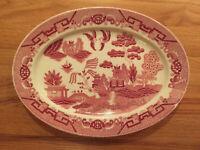 VTG Kanedai Red WIllow Porcelain Oval Serving Platter Made Occupied Japan ~ RARE
