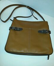 Tignanello Two-toned Brown Leather Crossbody Messenger Handbag