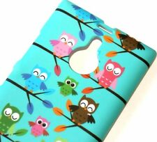 Nokia Lumia 1520 - HARD PROTECTOR CASE COVER TURQUOISE GREEN BLUE PINK OWLS BIRD